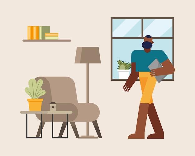 Uomo con il computer portatile che lavora dalla progettazione domestica dell'illustrazione di vettore di tema di telelavoro Vettore Premium