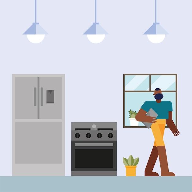 Uomo con il laptop che lavora dalla progettazione della cucina domestica dell'illustrazione di vettore del tema del telelavoro Vettore Premium