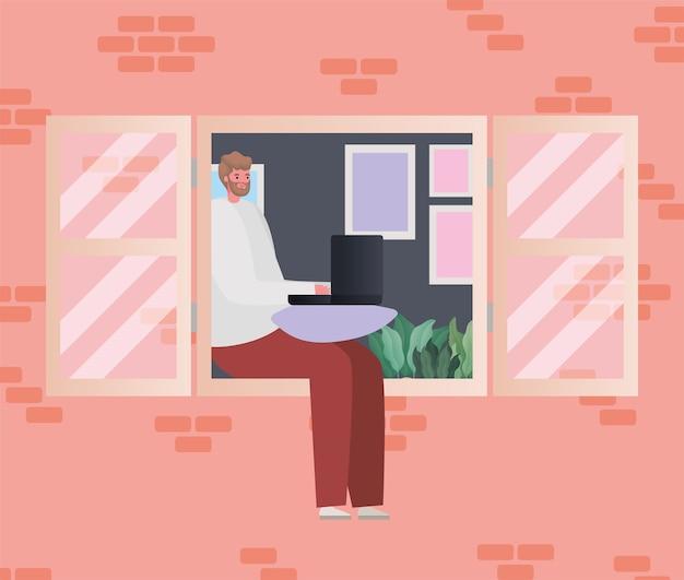 Uomo con il computer portatile che lavora alla progettazione della finestra del tema del lavoro da casa Vettore Premium