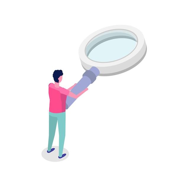 Uomo con lente d'ingrandimento. illustrazione isometrica. Vettore Premium