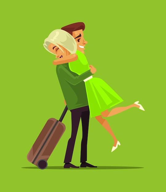 Personaggi di uomo e donna che incontrano un lungo viaggio d'affari di separazione. vettore di amanti della famiglia Vettore Premium