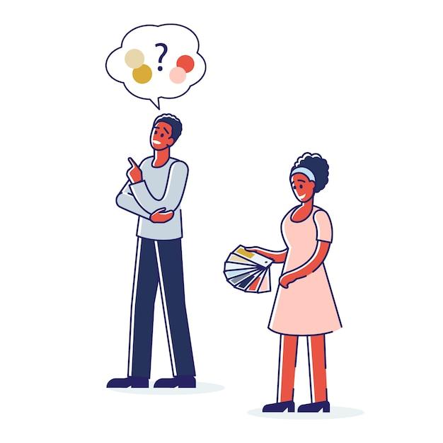 Uomo e donna che scelgono il colore per il design per la casa o la stampa dal campionario colorato con campioni. Vettore Premium