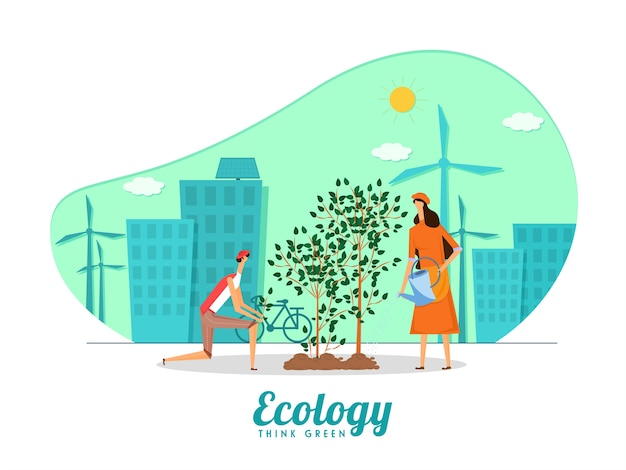 Uomo e donna che piantano sul fondo della città verde per l'ecologia pensano al concetto verde. Vettore Premium