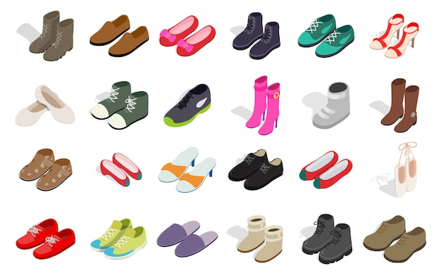 L'icona delle scarpe della donna e dell'uomo ha messo su fondo bianco Vettore Premium