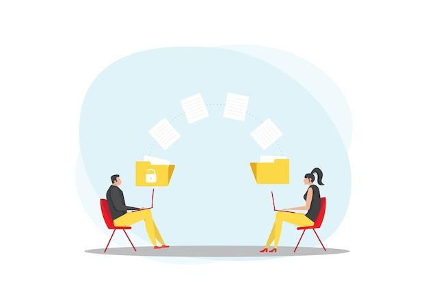 L'uomo e la donna trasmettono cartelle con file. documenti trasferiti Vettore Premium
