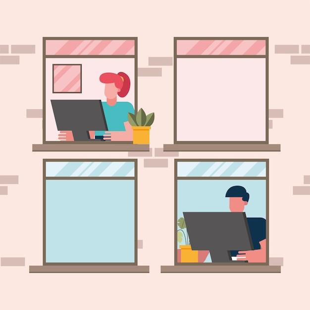Uomo e donna con il computer che lavora alla finestra da casa design del tema del telelavoro illustrazione vettoriale Vettore Premium