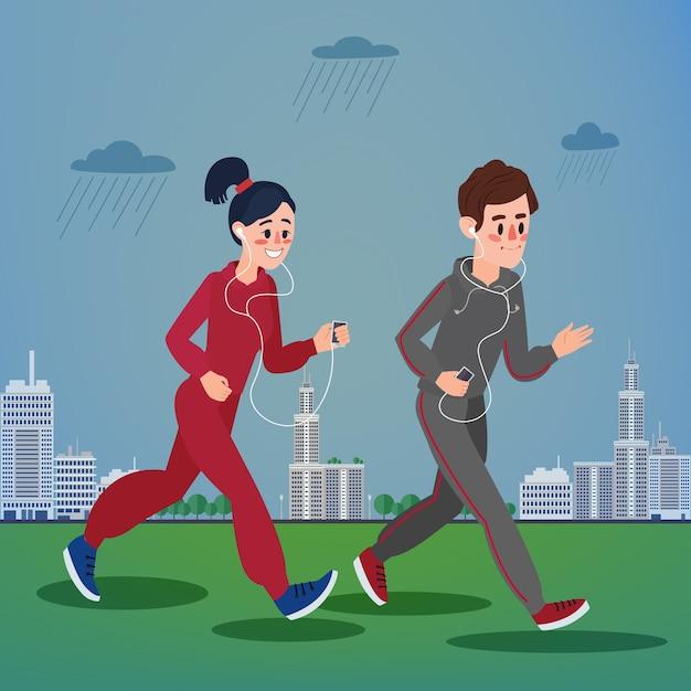 Uomo e donna con le cuffie che corrono nella megapolis Vettore Premium