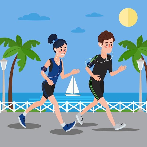 Uomo e donna con le cuffie che corrono in riva al mare Vettore Premium