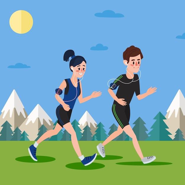 Uomo e donna con le cuffie che corrono nei boschi e nelle montagne Vettore Premium
