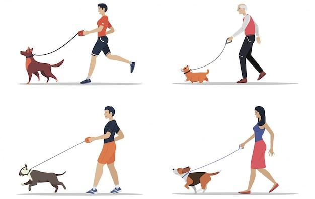 L'uomo e le donne a spasso i cani di razze diverse. persone attive, tempo libero. serie di illustrazioni piatte. Vettore Premium