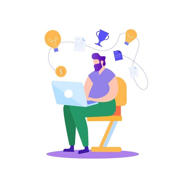 Uomo che lavora al computer portatile. pianificare un progetto riuscito. Vettore Premium