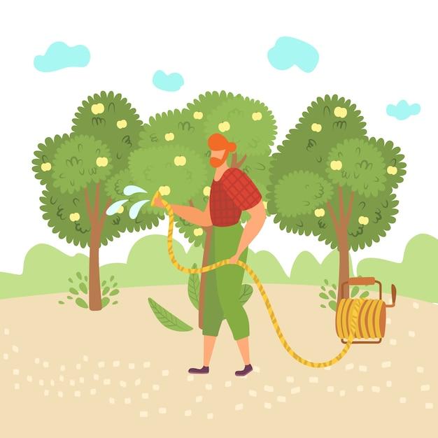 L'uomo lavora il giardino, usa lo strumento, si dedica al giardinaggio, innaffia l'albero, lavora il giardiniere all'aperto, nell'illustrazione. piantagione eco, piante organiche, sfondo verde, stagione di crescita. Vettore Premium