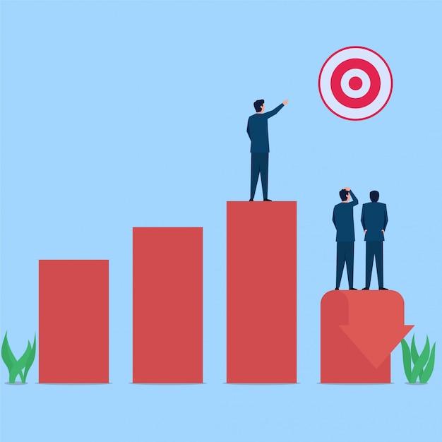 Manager punta sul bersaglio mentre il grafico scende metafora della perdita. illustrazione piana di concetto di affari. Vettore Premium