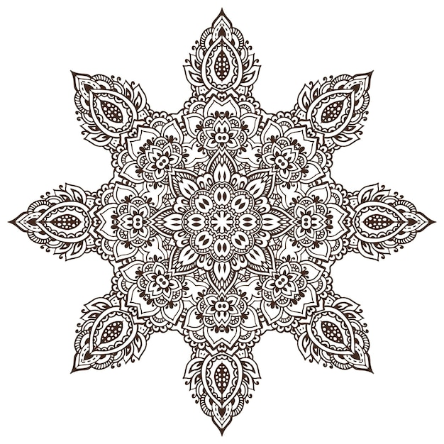 Modello mandala di elementi floreali all'henné basati su ornamenti asiatici tradizionali. Vettore Premium