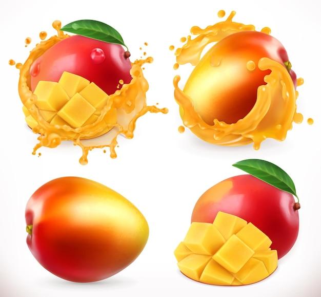 Succo di mango. frutta fresca, icona realistica Vettore Premium