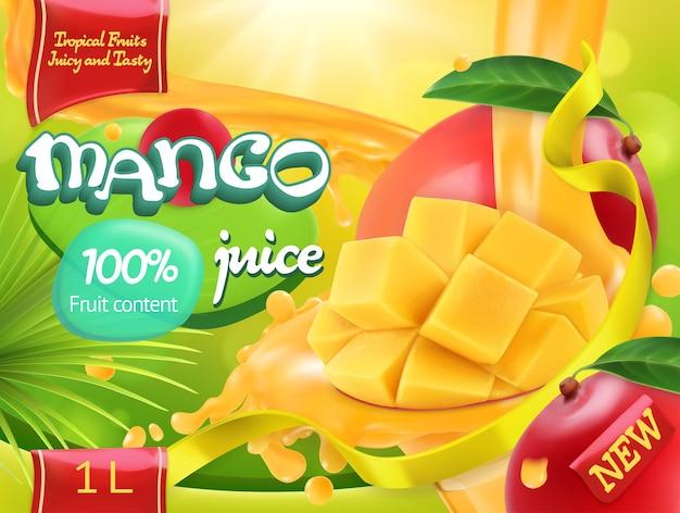 Succo di mango. dolci frutti tropicali. realistico, design della confezione Vettore Premium