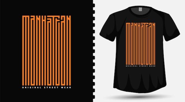 Caratteri tipografici della contea di manhattan sulla maglietta Vettore Premium