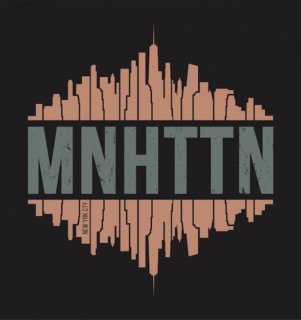 T-shirt manhattan new york. illustrazione vettoriale Vettore Premium