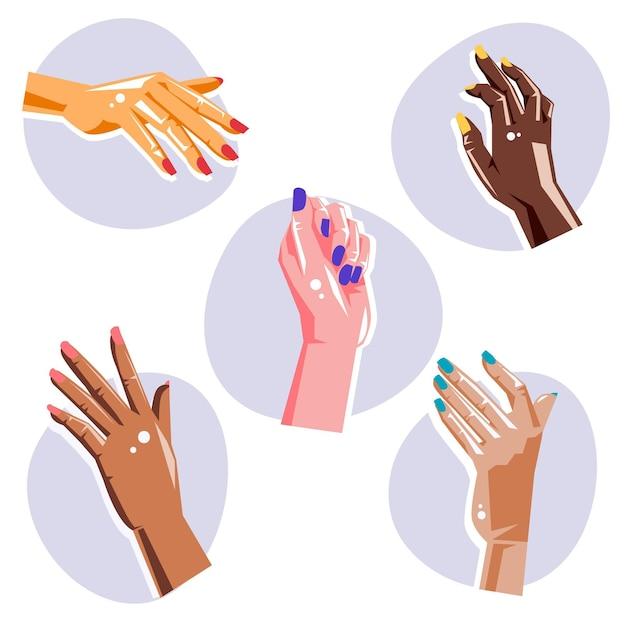 Manicure concetto di raccolta a mano Vettore Premium