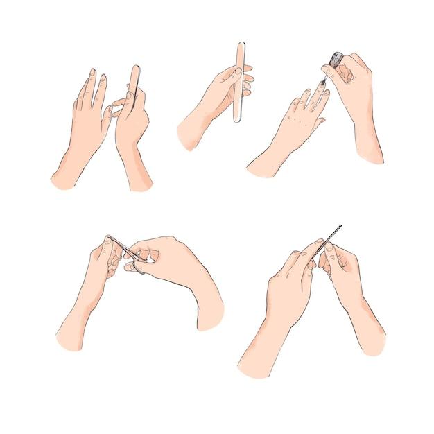 Accumulazione dell'illustrazione della mano del manicure Vettore Premium