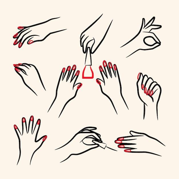 Pacchetto di illustrazioni per mani manicure Vettore Premium