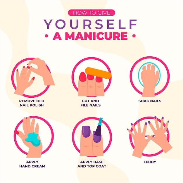 Concetto di istruzioni manicure Vettore Premium
