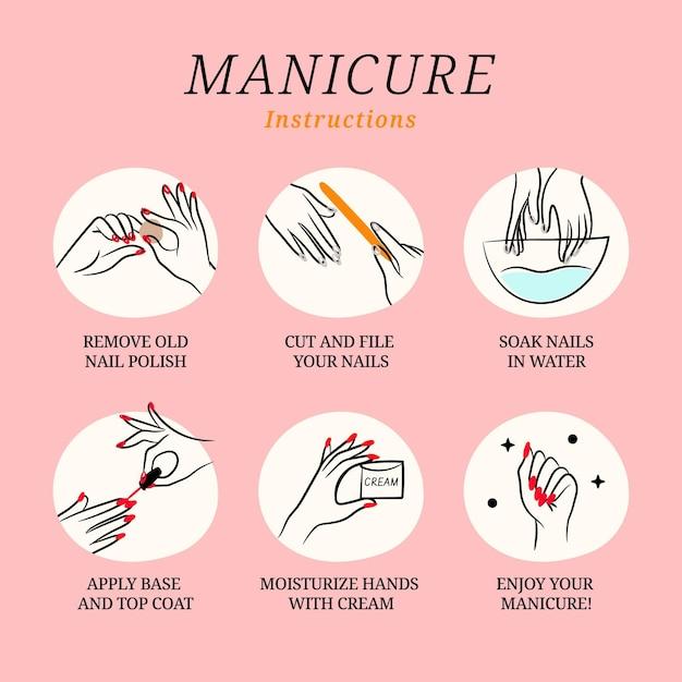 Raccolta di illustrazioni di istruzioni per manicure Vettore Premium