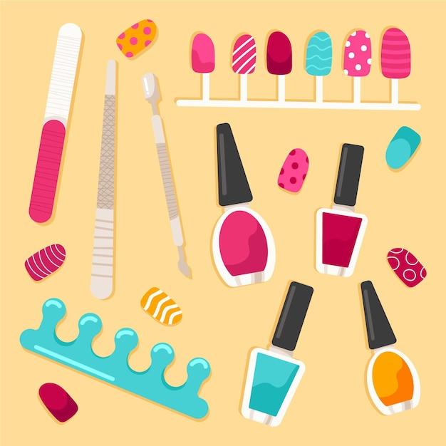 Concetto di raccolta strumenti manicure Vettore Premium