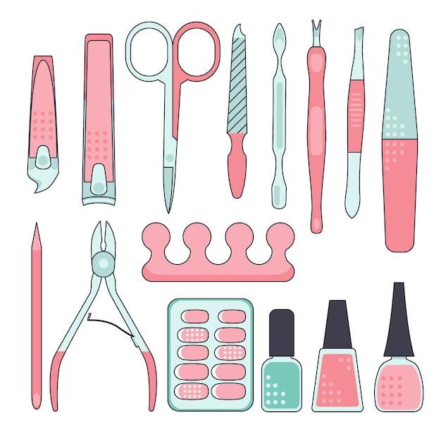 Collezione di strumenti per manicure Vettore Premium