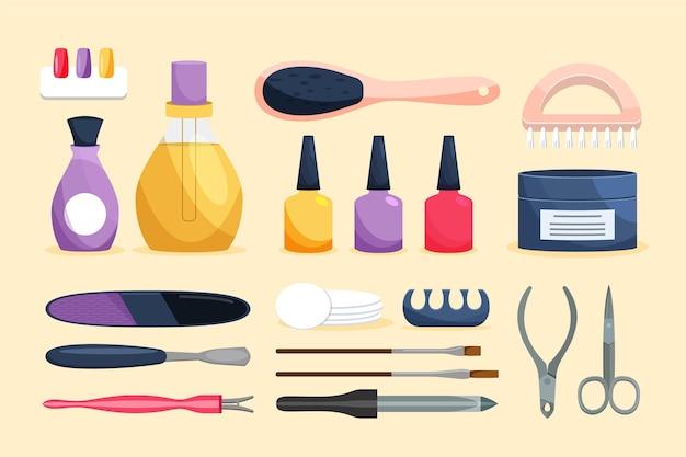 Concetto di strumenti per manicure Vettore Premium