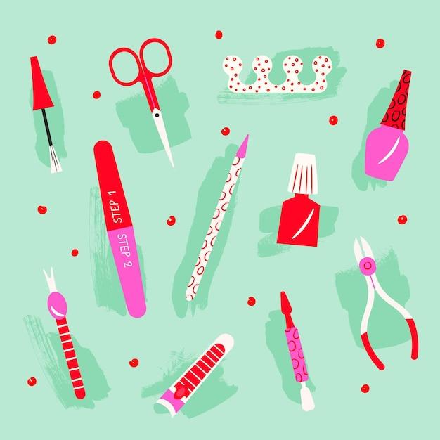 Raccolta di illustrazioni di strumenti per manicure Vettore Premium