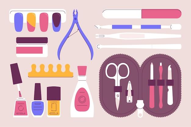 Set di strumenti per manicure illustrato Vettore Premium