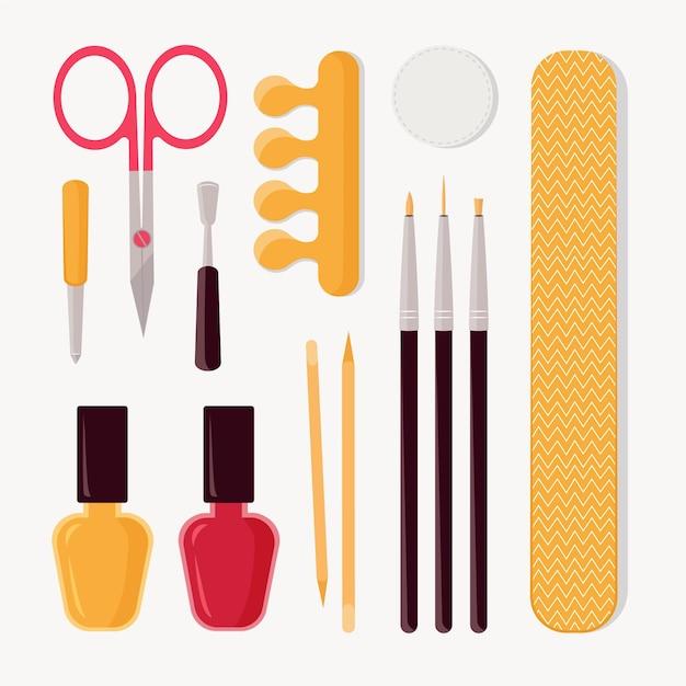 Set di strumenti per manicure Vettore Premium