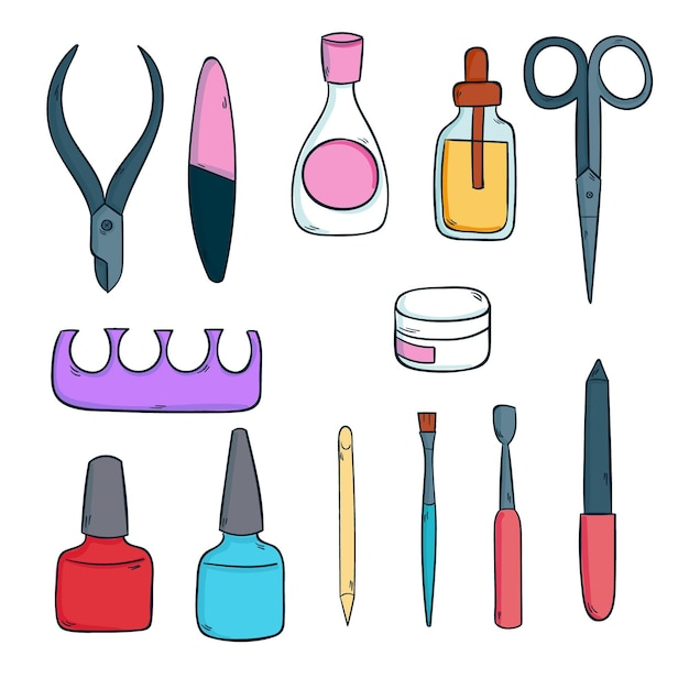 Strumenti per manicure Vettore Premium