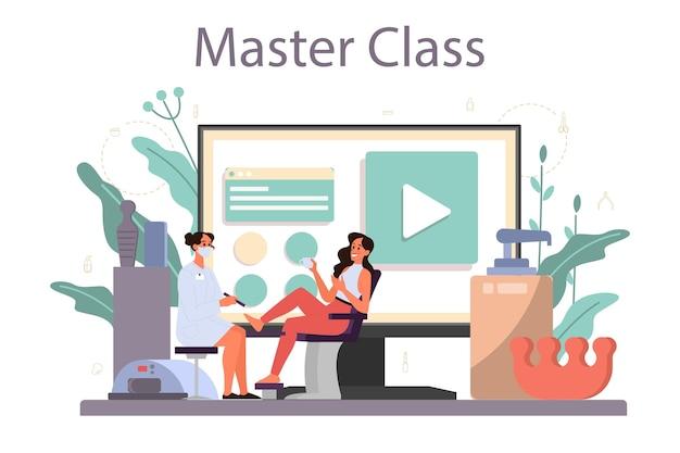 Piattaforma o servizio online di servizio manicure. lavoratore di salone di bellezza. trattamento delle unghie e. master class online. Vettore Premium
