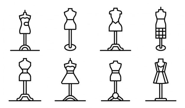 Set di icone di manichino, struttura di stile Vettore Premium