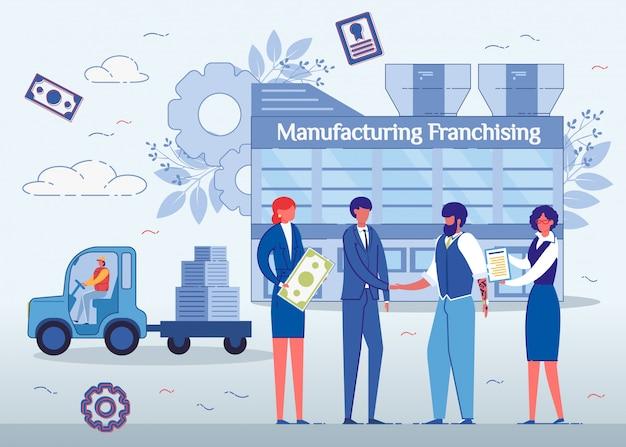 Franchising di produzione, uomini che agitano le mani. Vettore Premium