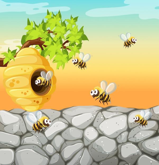 Molte api che vivono nella scena del giardino con il favo Vettore Premium