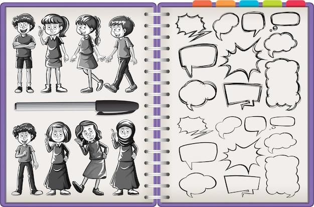 Carattere di molti bambini e doodle di pensiero isolato sul taccuino viola su priorità bassa bianca Vettore Premium