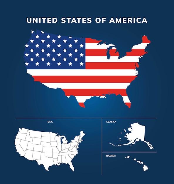 Mappa design stati uniti d'america Vettore Premium