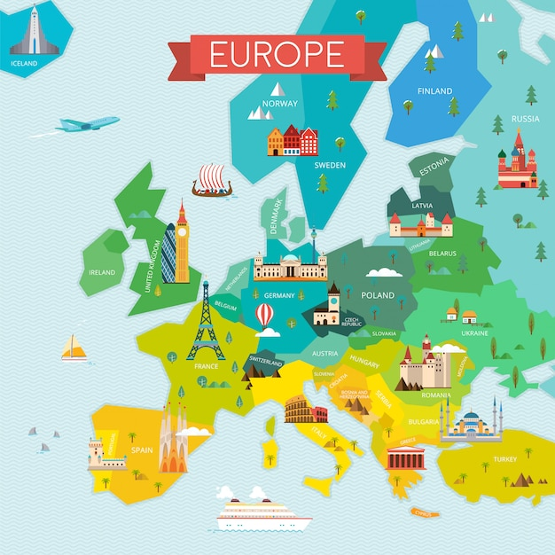 Mappa di illustrazione europa Vettore Premium