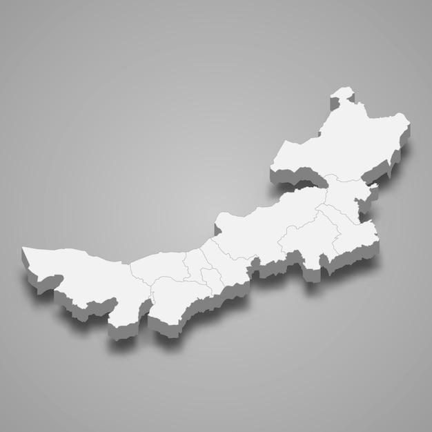 Mappa della provincia cinese Vettore Premium