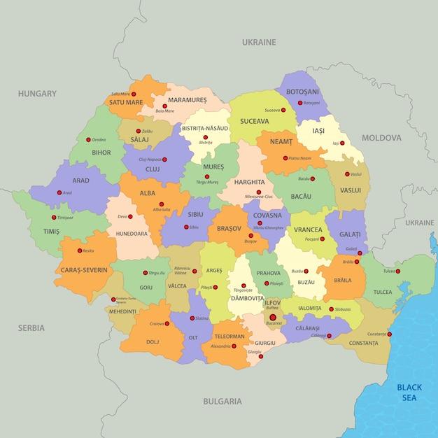Cartina Dettagliata Romania.Mappa Della Romania Vettore Premium