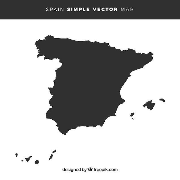 Mappa della spagna Vettore Premium