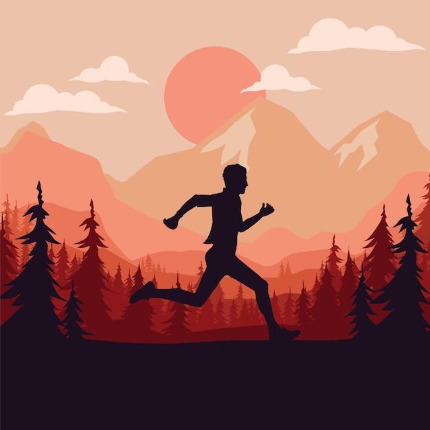 Sagoma di corridore di maratona. Vettore Premium