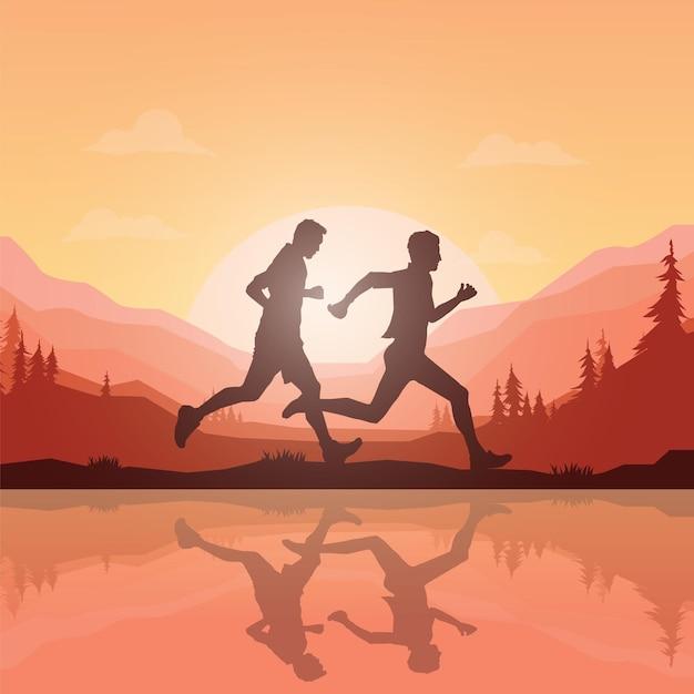 Sagome di corridori di maratona. Vettore Premium