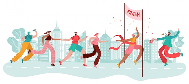 I maratoneti, il vincitore dello sport al traguardo, la corsa dell'atleta,  la competizione nella città da jogging e la corsa del fumetto. | Vettore  Premium