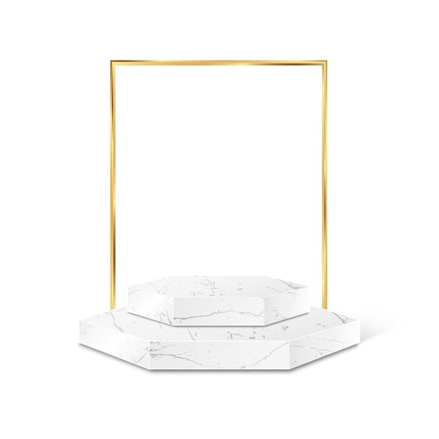 Piattaforma di prodotto poligono in marmo con cornice dorata isolata Vettore Premium