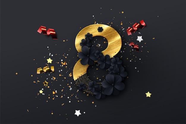 8 marzo. giornata internazionale della donna. illustrazione di vacanze di primavera. ritaglio di carta numero otto con ghirlanda di fiori neri, vernice dorata e glitter Vettore Premium