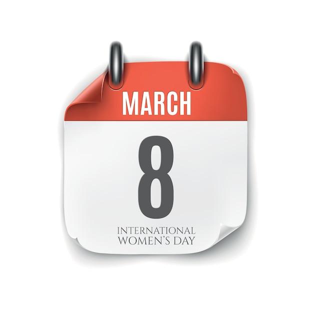 Icona del calendario di marzo isolato su priorità bassa bianca. modello di giornata internazionale della donna. Vettore Premium